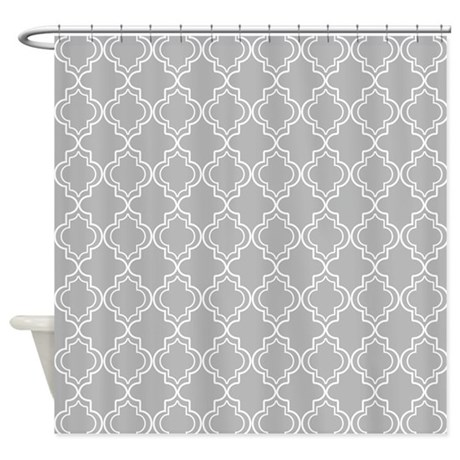 Light Gray Moroccan Quatrefoil Shower Curtain By Hhtrendyhome