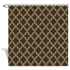 Brown Moroccan Quatrefoil Shower Curtain