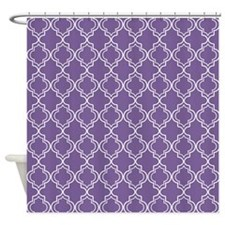 Medium Purple Moroccan Quatrefoil Shower Curtain