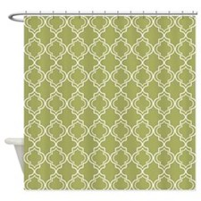 Medium Olive Moroccan Quatrefoil Shower Curtain