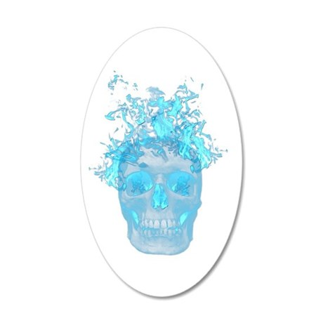 Blue Fire Skull Wall Decal