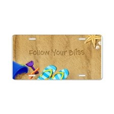 Beach Follow Your Bliss Aluminum License Plate