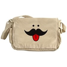 mustache face design with red tongue Messenger Bag
