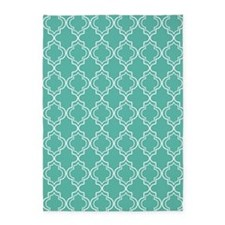 Medium Teal Moroccan Quatrefoil 5'x7'Area Rug