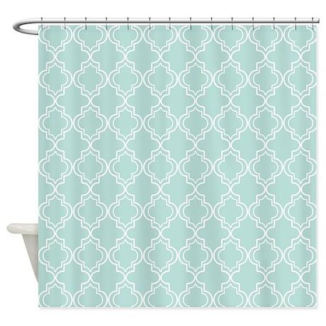 Light teal moroccan quatrefoil shower curtain by hhtrendyhome for Quatrefoil bathroom decor