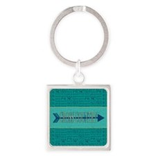 Cross Country Running Collage Blue Square Keychain