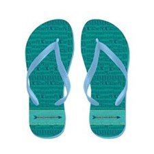 Cross Country Running Collage Blue Flip Flops