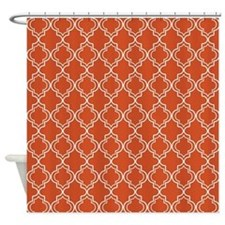 Pumpkin Orange Moroccan Quatrefoil Shower Curtain
