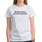 Peek-A-Pom ate my homework Women's T-Shirt