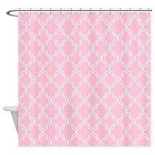 Light Rose Pink Moroccan Quatrefoil Shower Curtain