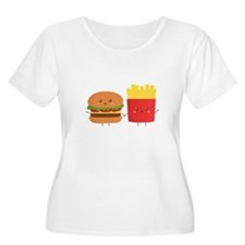 Kawaii Burger and Fries are best pals Plus Size T-