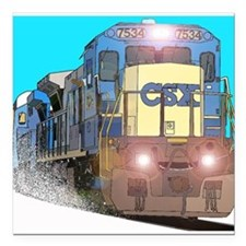 "CSX Train Square Car Magnet 3"" x 3"""