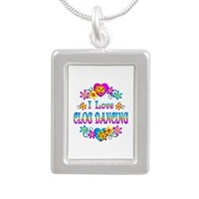 I Love Clog Dancing Silver Portrait Necklace