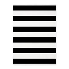 Black and White Bold Stripes 5'x7'Area Rug