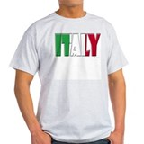 Word Art Flag Italy Ash Grey T-Shirt