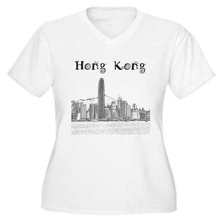 Hong Kong Women's Plus Size V-Neck T-Shirt