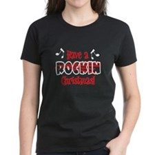 Rockin' Christmas Women's Black T-Shirt