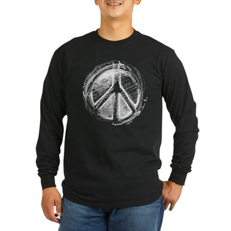 Urban Peace Sign Sketch Men's Long Sleeve Dark T-Shirt