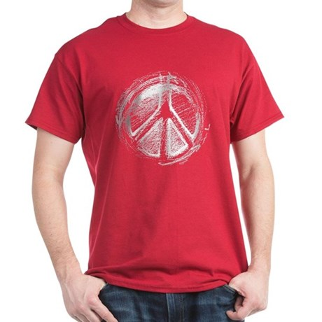 Urban Peace Sign Sketch Men's Dark T-Shirt