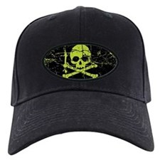 Worn Green Skull And Crossbones Baseball Hat