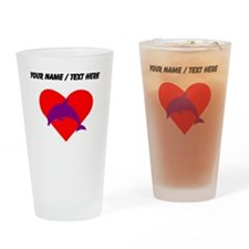 Custom Purple Dolphin Heart Drinking Glass