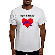 Custom Purple Dolphin Heart T-Shirt