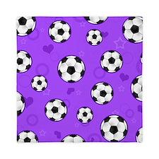 Cute Soccer Ball Print - Purple Queen Duvet
