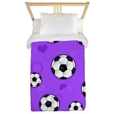 Cute Soccer Ball Print - Purple Twin Duvet