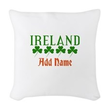 Irish Shamrocks Add Name Woven Throw Pillow