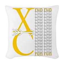 XC Run Yellow White Woven Throw Pillow