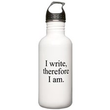 I write, therefore I am. Water Bottle