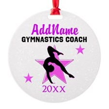 #1 GYMNAST COACH Round Ornament