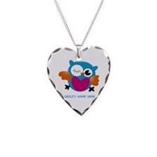 Editable Owl Print Necklace Heart Charm