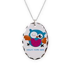 Editable Owl Print Necklace Oval Charm