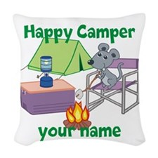 Custom Happy Camper Mouse Woven Throw Pillow