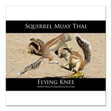 "Muay Thai Squirrels Square Car Magnet 3"" x 3"""