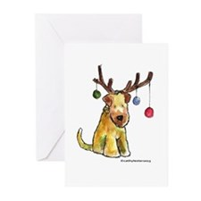 Wheaten terrier with Christmas Antlers Greeting Ca