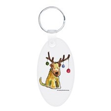 Wheaten terrier with Christmas Antlers Keychains