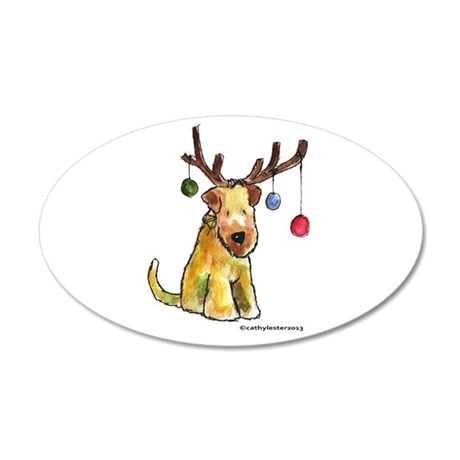 Wheaten terrier with Christmas Antlers 35x21 Oval