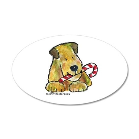 Wheaten terrier with Candy Cane 35x21 Oval Wall De