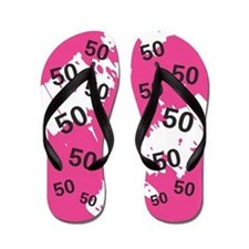 PINK 50 years old - 50th Birthday Flip Flops