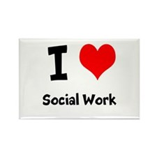I heart Social Work Rectangle Magnet