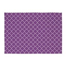 Purple White Quatrefoil 5'x7'Area Rug