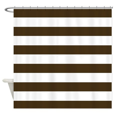 Brown and White Bold Stripes Shower Curtain by HHTrendyHome