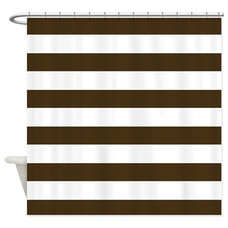 Brown and white striped shower curtain home design Bold black and white striped curtains
