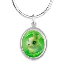Cute Bunny in Green Silver Oval Necklace