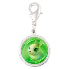 Cute Bunny in Green Silver Round Charm