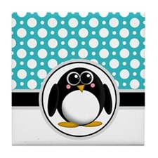 Cute Penguin Teal Polka Dot Tile Coaster