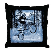 """Fun in the Woods"" (Blue) Throw Pillow"
