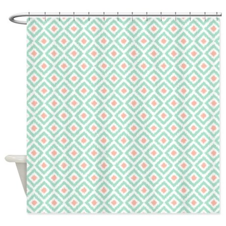 mint coral diamonds ikat shower curtain by mcornwallshop